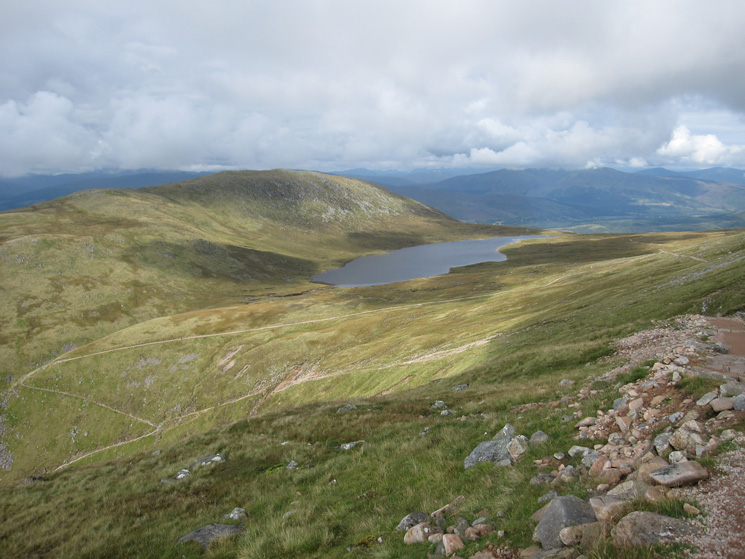 The Half-Way Lochan (Lochan Meall an t-Suidhe) and the path down by Red Burn bottom left