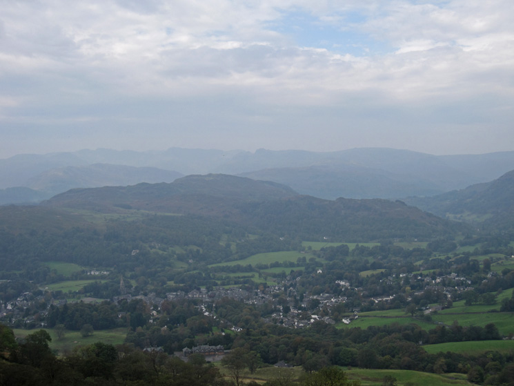 Over Ambleside to Loughrigg Fell, hazy today
