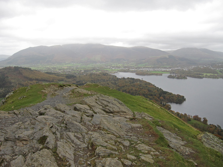 The top of the Skiddaw fells are in cloud