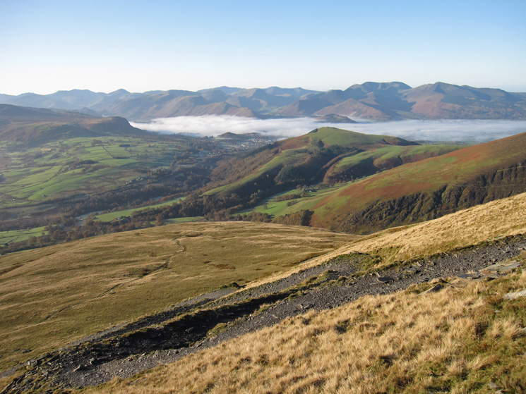 Looking south west from the Blease Fell zig-zags
