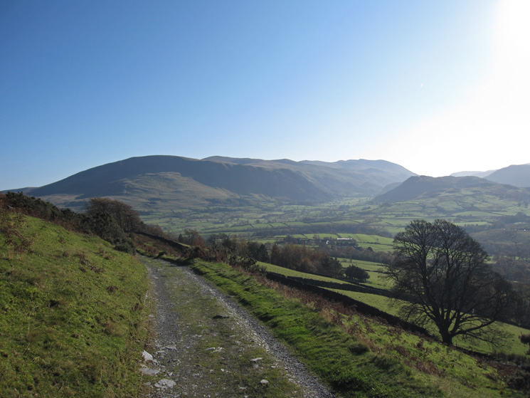 Almost back at the car parking near the Blencathra Centre with the Helvellyn ridge in the distance