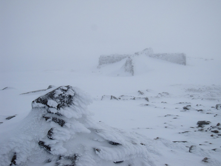 Helvellyn's cross shelter from the summit cairn