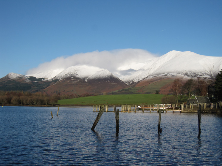 The Skiddaw fells from the landing stages at Keswick