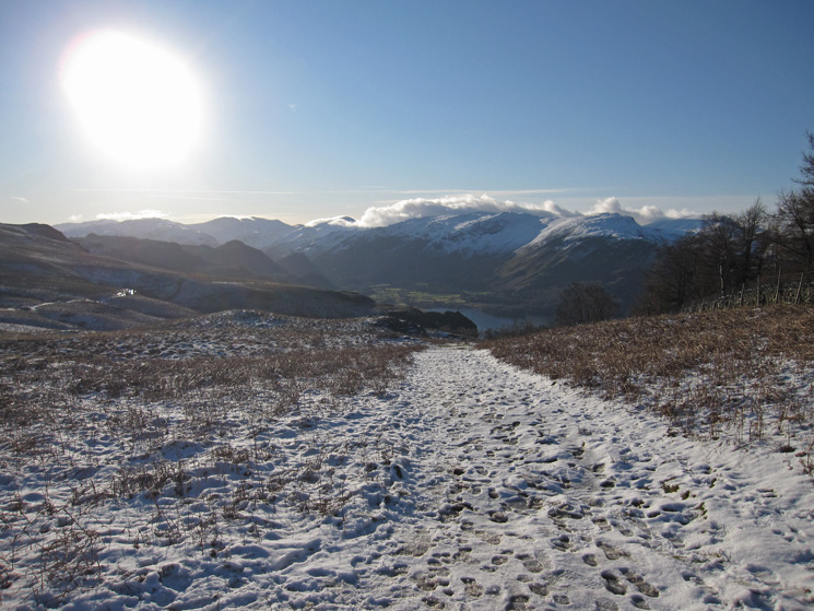 Looking south up Borrowdale into the sun
