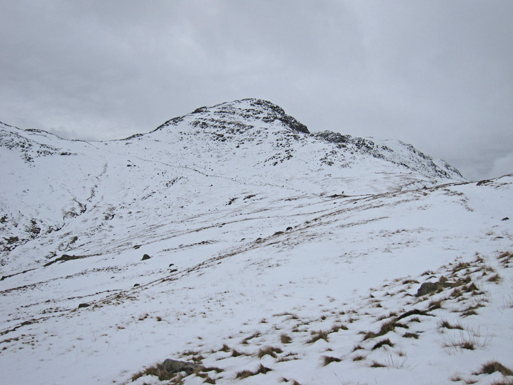 Bowfell, with the Three Tarns path going up to the left, from The Band