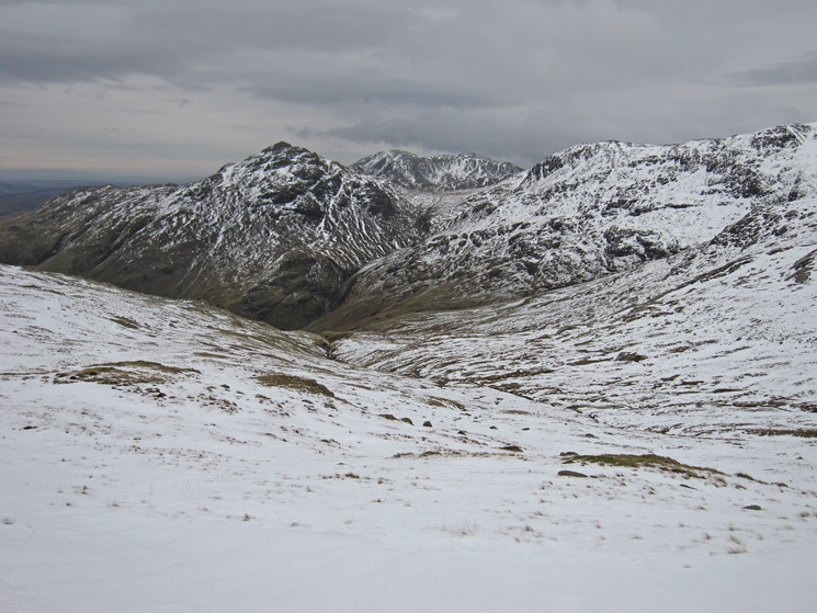The pointed Pike O'Blisco with Great Knott on the right and Wetherlam behind the Red Tarn gap