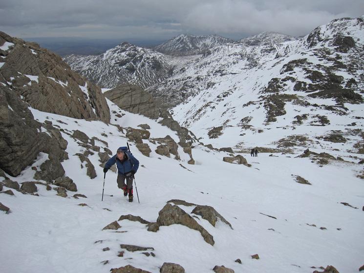 Ascending above Three Tarns