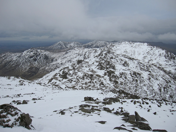 Looking south to Crinkle Crags from Bowfell