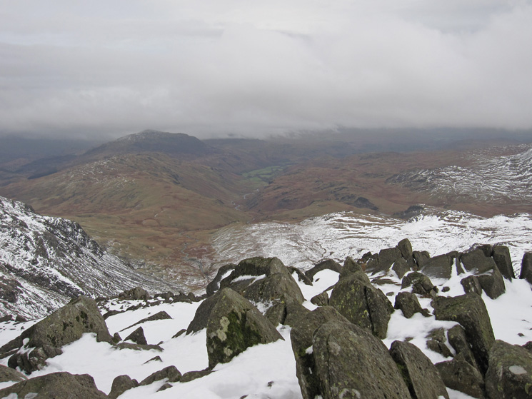 Hard Knott with Harter Fell behind and Upper Eskdale from Bowfell's summit