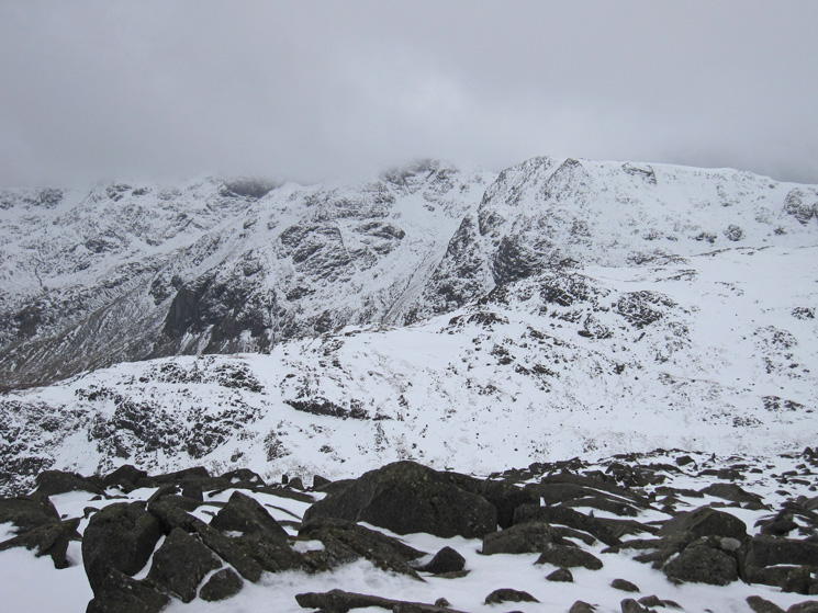 The tops of the Scafells are now in cloud