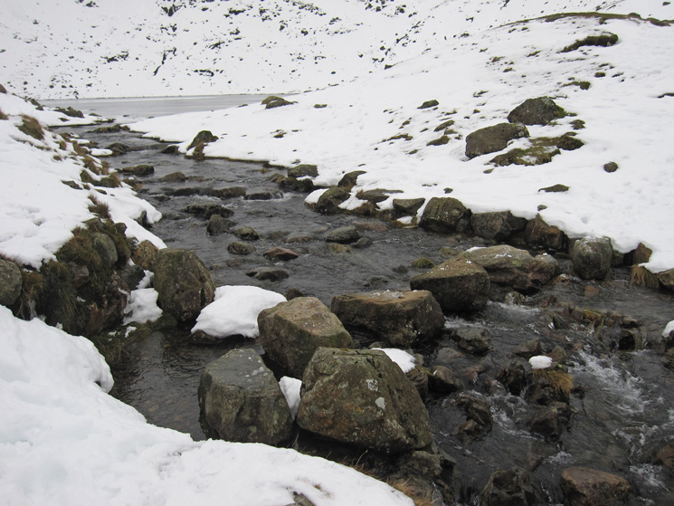 Stepping stones across Angle Tarn's outflow