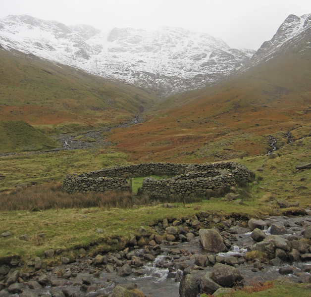 Looking back to Bowfell, now in cloud