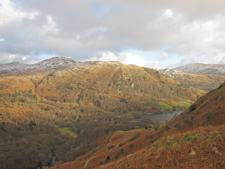 Great Rigg, Heron Pike and Nab Scar with Rydal Water now far below