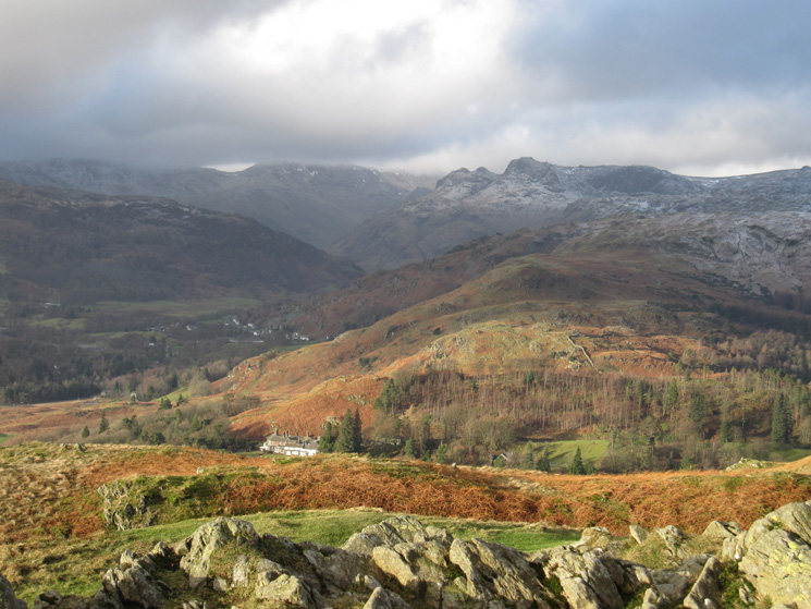 Looking into Great Langdale from Loughrigg Fell's summit