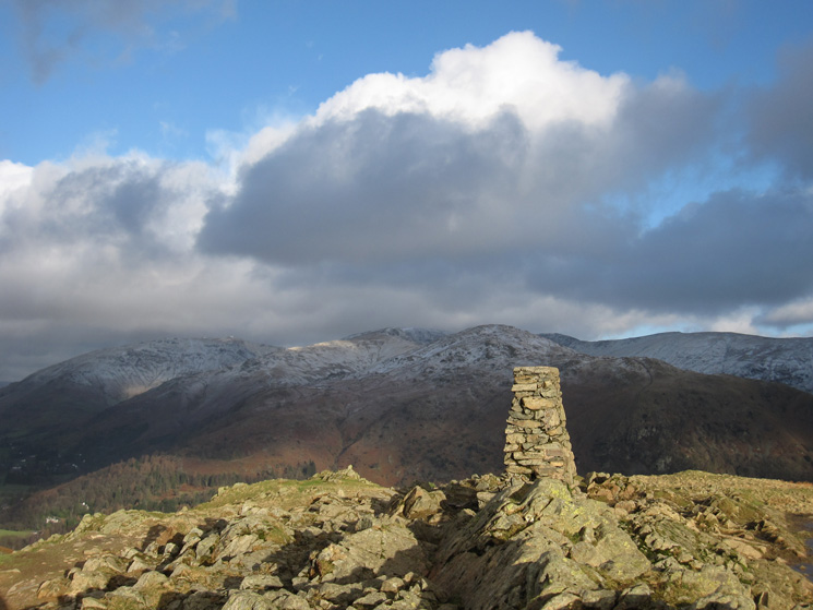 Seat Sandal and the Fairfield Horseshoe from Loughrigg Fell's summit