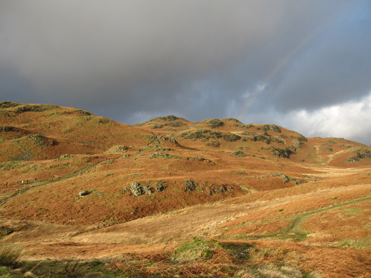 Bright sunshine, looking back towards Loughrigg's summit (out of sight)