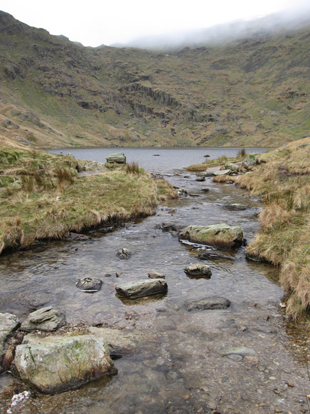Small Water, Nan Bield Pass is up in the cloud