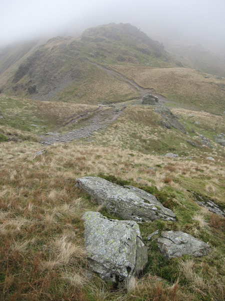 Looking back to Nan Bield Pass as I head up Harter Fell