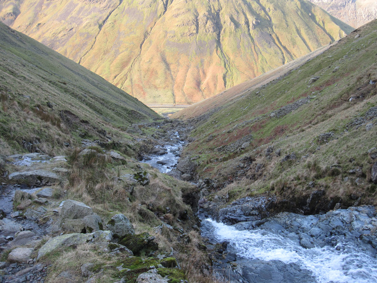 Looking back down to Dunmail Raise from the path by Raise Beck