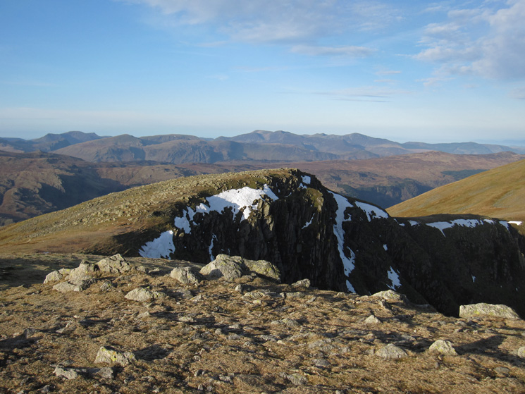 The High Stile ridge on the far left skyline and the north western fells from Dollywaggon Pike's summit