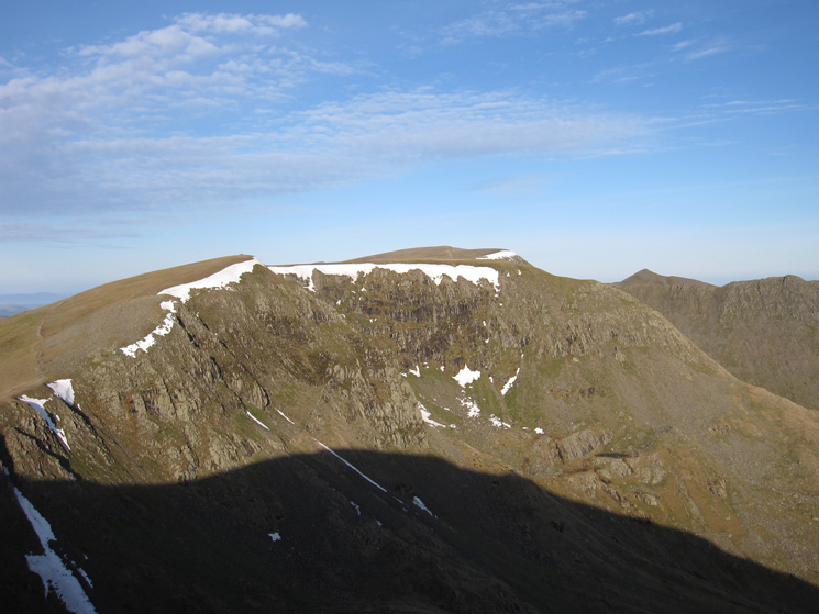 High Crag, Nethermost Pike, Helvellyn and Catstycam from Dollywaggon Pike's summit