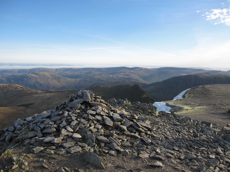 The far eastern fells from Helvellyn's summit carin