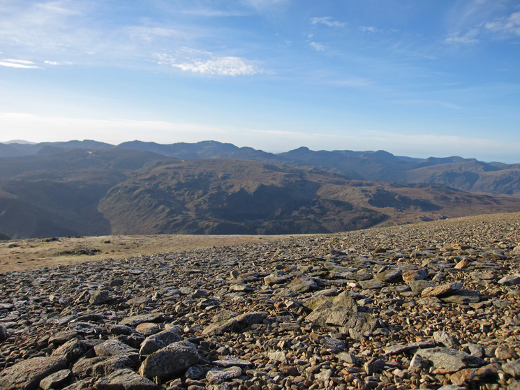 West over High Raise and Ullscarf to Crinkle Crags, Bowfell, Scafell Pike, Great Gable, Pillar and the High Stile ridge