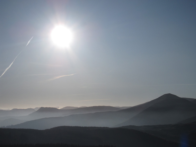 South into the sun, Causey Pike on the left and Grisedale Pike on the right