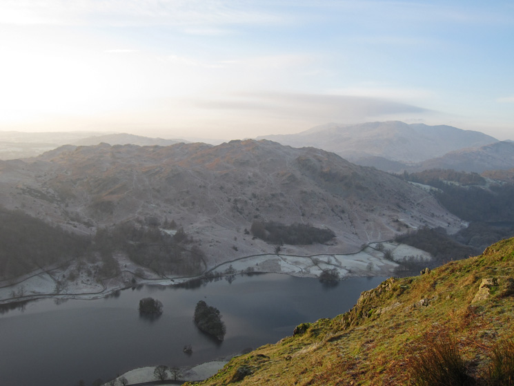 Rydal Water far below and a frosty Loughrigg Fell