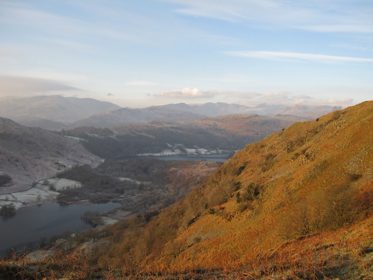 Sunshine on Nab Scar, Rydal Water and Grasmere below