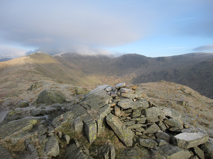 Fairfield's top in cloud from Erne Crag top