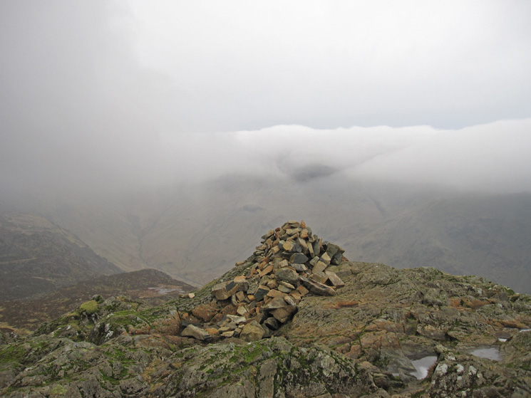 And the other summit cairn, Great Gable in the cloud