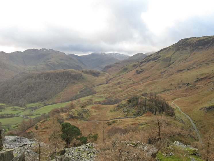 The view south, up Borrowdale, from Castle Crag
