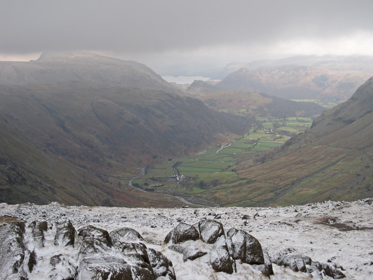 The view north down Borrodale with a glimpse of Derwent Water