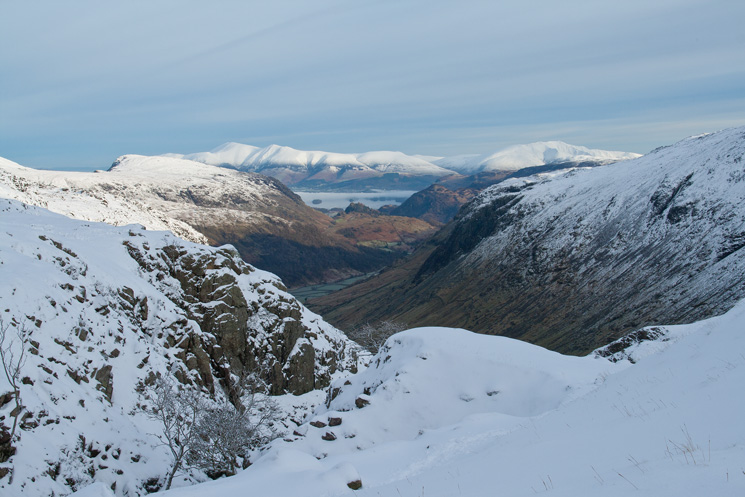 North from the top of Ruddy Gill. There is an inversion over Derwent Water