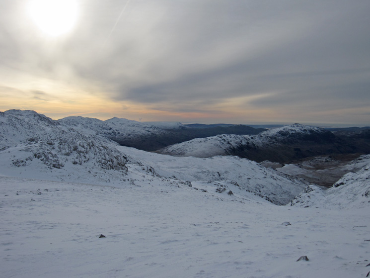 South from Esk Hause. Coniston Old Man and Dow Crag in the distance left. Harter Fell on the right