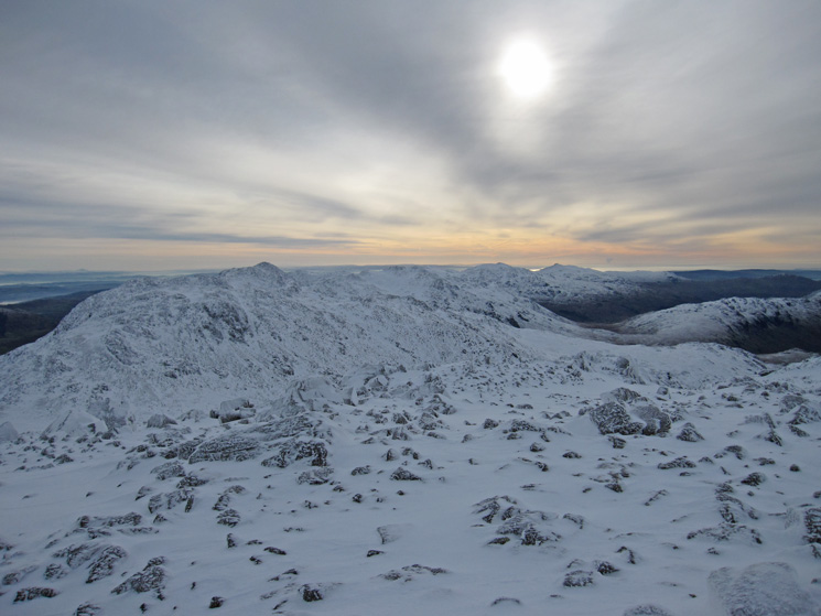 Esk Pike with Bowfell behind, Crinkle Crags, Coniston Old Man and Dow Crag from Great End's summit