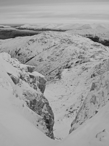 Towards the Helvellyn fells from the top of Central Gully, Great End