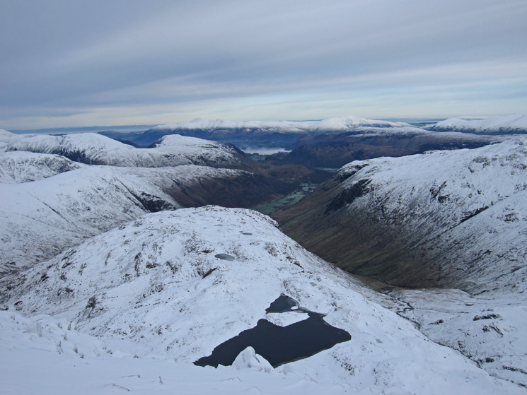 North from Great End, Sprinkling Tarn and Seathwaite Fell below