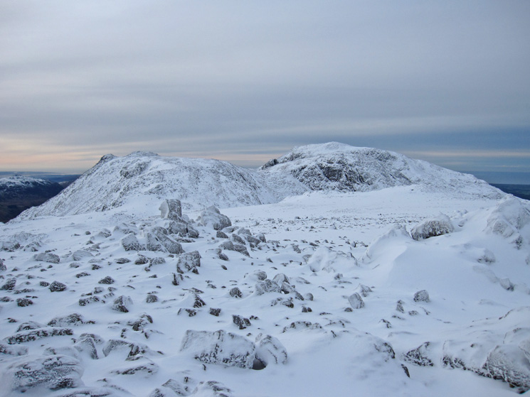 Ill Crag left and Scafell Pike behind Broad Crag right from Great End's summit