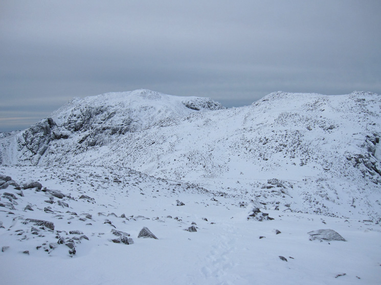 Scafell Pike left and Broad Crag right