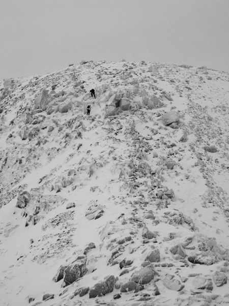 The final pull up to Scafell Pike's summit