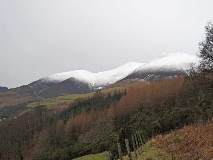 Snow on the Skiddaw fells