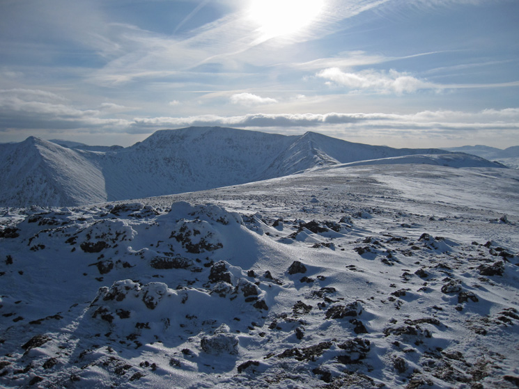 Catstycam, Helvellyn, Lower Man and the top of White Side from Raise