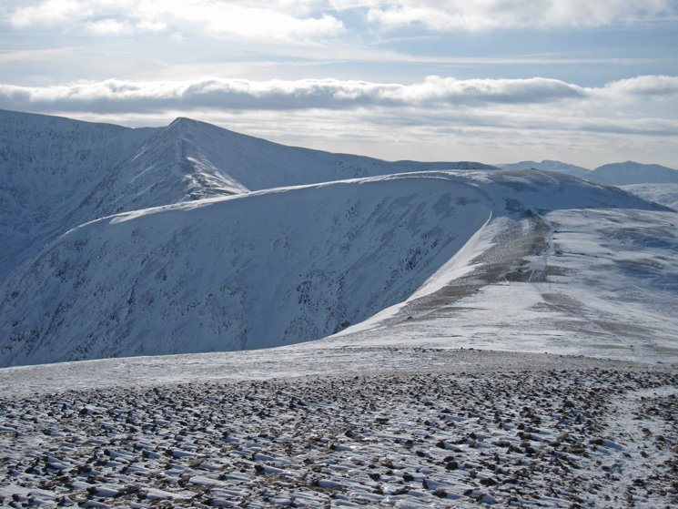 The ridge up Helvellyn Lower Man on the left and White Side, summit on the right