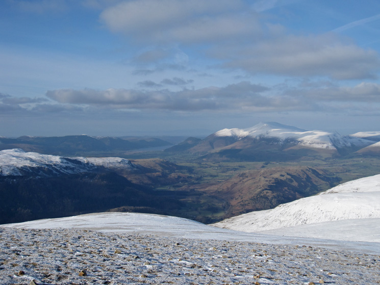 North to Skiddaw, but no snow on High Rigg, from White Side