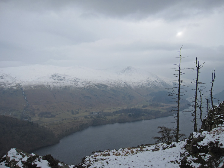 Over Thirlmere towards Helvellyn from Raven Crag's summit