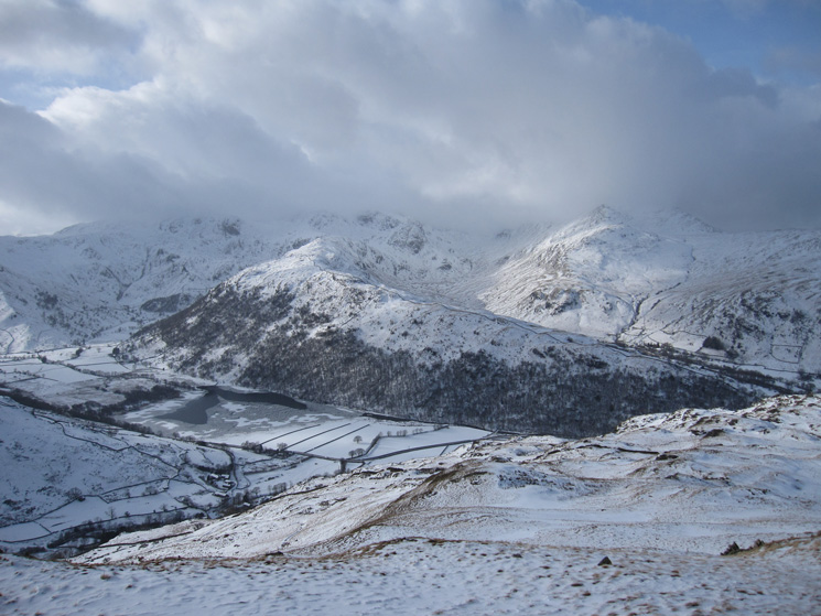 The tops of Hart Crag, Fairfield and Saint Sunday Crag are in cloud