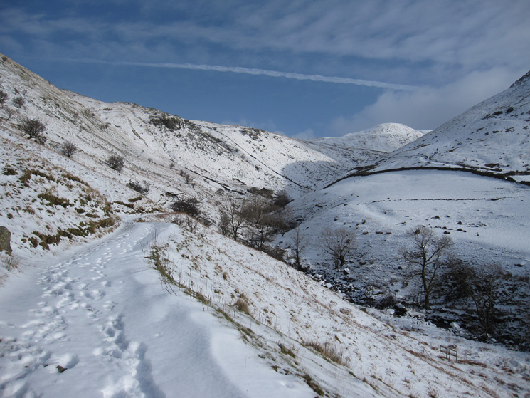 Down on the Filter House road, looking up Hayeswater Gill to The Knott