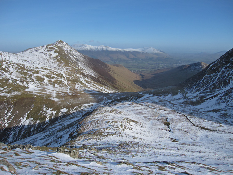 Grisedale Pike and Coledale with the Skiddaw fells and Blencathra beyond from my route up Grasmoor